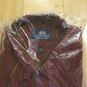STAFFORD NWT burgundy short-sleeved shirt 16 1/2